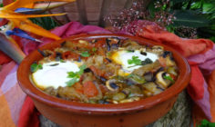 Shakshuka with Eggplant, Olives and Feta